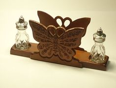 Vintage Carved Wood Butterfly Napkin Holder With Salt And Pepper Shakers