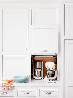 You don't have to replace or redo all your cabinets to reap some big advantages. Choose an oft-used section and remake them, inside and out, to gain more storage, particularly for appliance garage or food storage.