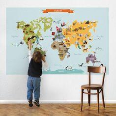World Map Decal - contemporary - Nursery Decor - Simple Shapes World Map Poster, World Map Decal, World Map Wall, Wall Stickers Map, Wall Decals, Wall Art, Kids World Map, Deco Kids, Maps For Kids