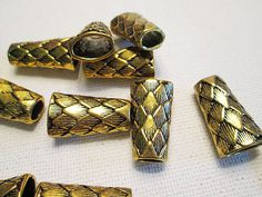 Metal Beads Gold Tone Metal Cones Reptile Look Cone by FLcowgirls #beadsforsale