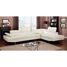 Furniture of America Kezi Contemporary Pneumatic Gas Lift Headrest with Storage Console Bonded Leather Sectional