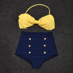 Vintage Retro Pin Up High Waisted Bikini Bow Top +Bottom Swimsuit Blue Yellow