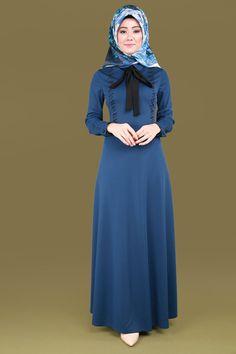 Taşları Yatay Desen Elbise MSW8178 İndigo