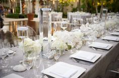 white roses and rustic linen