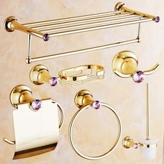 Polished Brass Antique Pink Crystal Bathroom Products Europe Gold Bathroom Accessories Set Towel Shelf/ Towel Bar/ Paper Holder #Affiliate