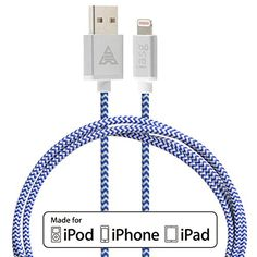 [MFi licensed] iasg Lightning to Reversible USB Cable 3.3ft/1m. Super Fast Charge+Data Sync Premium Rugged Cotton Braided Lightning Cable with Aluminum Casing & Rubber Strain Protectors for Apple iPhone 6 6Plus 5s 5c 5, iPad Air mini mini2, iPad 4th gen, iPod touch 5th gen, and iPod nano 7th gen (blue and white) Iasg http://www.amazon.com/dp/B00Y4FM762/ref=cm_sw_r_pi_dp_ZiRGvb0XAJB98