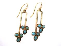 Absolutely delightful! These late Victorian, (British of course) 15 karat yellow gold, turquoise and seed pearl dangle earrings are perfect!  They have a French wire closure and are very simple and very elegant.  The earrings are approximately 1 1/2 inches long. One of a kind.