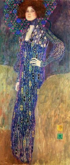 "Gustav Klimt…""Portrait of Emilie Floege""...after the rejection of his Philosophy, Medicine, and Jurisprudence murals at the University of Vienna, Klimt did several portraits of women between 1902 and 1906…this is an early portrait from the period and shows his close friend Emilie Floege…"
