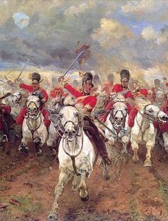 """""""Scotland forever"""". Charge of the Scots Greys at Waterloo."""