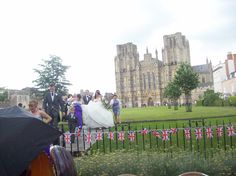 Wedding on the lawn of Wells Cathedral; beauty in the east