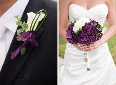 Purple and white artificial flower bouquets - Kristina Lynn Photography and Design - A Colorado Courtship Blog