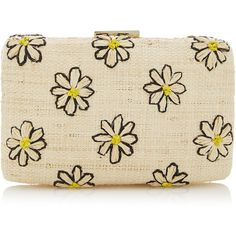 Daisy Clutch | Moda Operandi ($250) ❤ liked on Polyvore featuring bags, handbags, clutches, raffia clutches, beige clutches, raffia handbags, embroidered purse and beige handbags