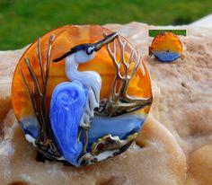Blue Heron original custom handmade lampwork bird by LandSArts. Looks Like Keri Fuhr