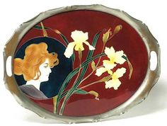 """European Art Nouveau tray, ceramic insert with woman's profile and colorful irises in a cutout metal frame, impressed marks, 20""""w.  Tile designed by Carl Luber.  