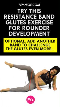 """4 """"Not Boring"""" Butt Exercises With Resistance Bands Use this resistance band exercise to grow your glutes bigger and rounder at home. Combine this booty band exercise with the other 3 moves in this routine. Go checkout the routine! Resistance Band Glutes, Exercises With Resistance Bands, Stretch Band, Yoga Bewegungen, Sixpack Training, Workout Bauch, I Work Out, Excercise, Diet Exercise"""