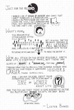 Lester Bangs' quote hand drawn by Tavi