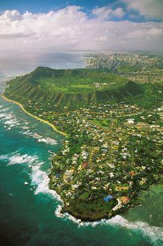 Diamond Head and coastline, Honolulu, HI, United States