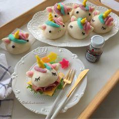 Cute Food, Good Food, Yummy Food, Marshmallow, Homemade Dumplings, Kawaii Bento, Unicorn Foods, Sweet Buns, Mini Burgers