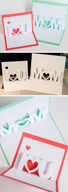 I Love You Pop Up Cards | Click Pic for 20 DIY Mothers Day Craft Ideas for Kids to Make | Homemade Mothers Day Crafts for Toddlers to Make