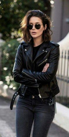 You can never go wrong with black and black leather jacket