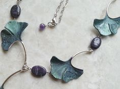 Ginkgo Leaf Necklace - Purple, Green Ginkgo Leaves Necklace w/ Purple Micanite Stone Beads - Ginkgo Leaves Hand Painted
