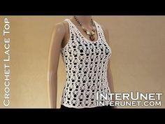 Crochet pineapple stitch tank top - lace blouse crochet pattern - YouTube