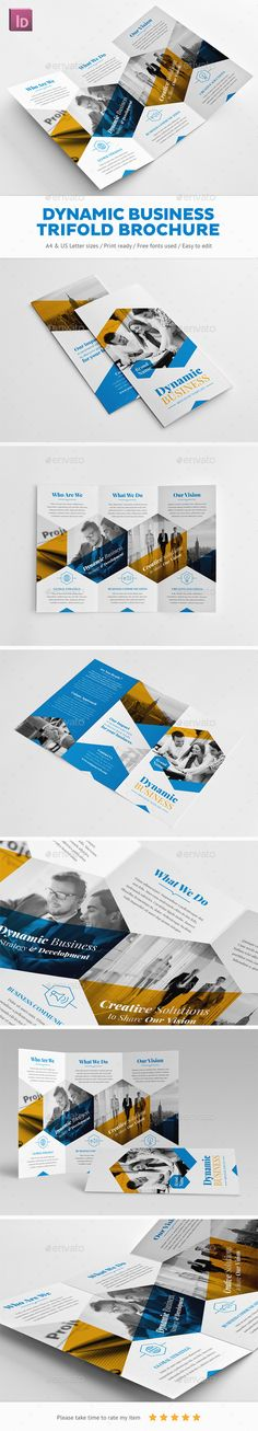 Buy Dynamic Business Trifold Brochure by Snowboy on GraphicRiver. Corporate Brochure Design, Brochure Layout, Brochure Template, Branding Design, Brochure Trifold, Business Brochure, Print Layout, Layout Design, Web Design
