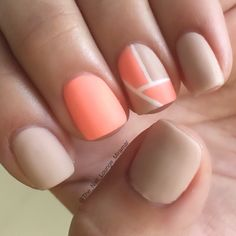 Nude coral colorblock nail art design
