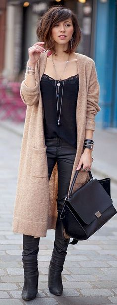 Camel and black. Long necklace.