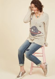 Interplanetary Elan Sweater. Your attraction to this V-neck sweater isn't scientific - it's organic! #cream #modcloth