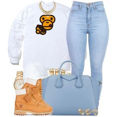 A fashion look from January 2015 featuring Timberland shoes, Givenchy handbags and Invicta watches. Browse and shop related looks. Tims Outfits, Timberland Outfits, Cute Swag Outfits, Dope Outfits, Trendy Outfits, Winter Outfits, Timberland Heels, Timberland Fashion, Tomboy Outfits
