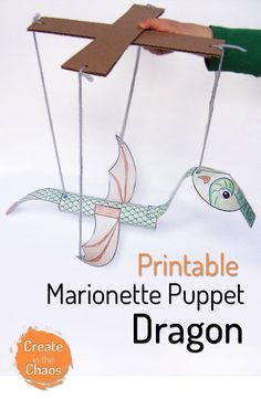 Great printable craft for kids - Printable dragon marionette puppet