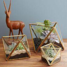 Moderne planter 17* 12* 9.5cm gouden geometrische glazen terrarium/sweetheart tafel middelpunt/bruiloft decor(China (Mainland))