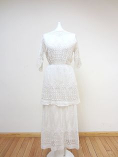 Involved Victorian White Tea Dress by parasail212 on Etsy, $825.00