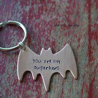 hand stamped superhero copper batman keychain