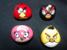 Painted rocks/Hand Painted Angry Bird Stone by MeloArtGallery