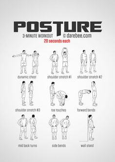 Instructions: Repeat each exercise for 20 seconds one after the other with no rest in between.  What it works: Deltoids, pecs, biceps, neck muscles, lower back, core, exterior and interior obliques, trapezius, infraspinatus (higher back muscles), hamstrings.   Make it better: Breathe out every time you perform toe touches, forward bends and mid-back turns, bringing your lower abs into play.    Make it harder: When performing toe touches place your fingers under the balls of your feet and…