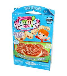 Makes 10+ mini pizzas that are doughy and delicious. Includes 1 kitchen magic tray, 1 instruction sheet, 1 dough packet, 1 sauce packet, 1 cheese packet, 1 spoon, 1 measuring scoop and 1 mini pizza pe