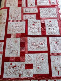 vintage redwork feedsack quilt (made with lecien fabrics) I love Amy and her incredible patchwork factory she seems to run! baby animals quilt with embroidery by nanaCompany Vintage redwork feedsack quilt - inspiration for my embroidered squares! Crazy Quilting, Colchas Quilting, Free Motion Quilting, Machine Quilting, Quilting Designs, Quilting Ideas, Machine Embroidery, Embroidery Designs, Quilt Studio