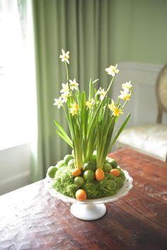 How to Make a Floral Centerpiece in Vintage Milk Glass, I like the idea of green plants and river rock with the moss for a summer arrangement. ~MWP - Fruit and Floral Centerpieces for Spring | Easy Crafts and Homemade Decorating & Gift Ideas | HGTV