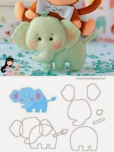 Elephant (with instructions) ・ ☆ ・ .- Elefant 🎀 (mit Anleitung)・☆・ Elephant 🎀 (with instructions) ・ ☆ ・ - Felt Diy, Felt Crafts, Fabric Crafts, Clay Crafts, Felt Patterns, Craft Patterns, Baby Mobile, Felt Fabric, Fabric Dolls