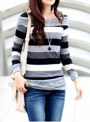$6.76 Color Block Acrylic Ladylike Style Long Sleeves Stripe T-shirt For Women