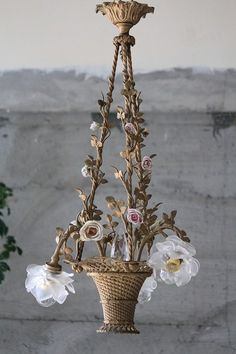 french antique bronze basket chandelier and frosted glass rose lamp shades Creative Decor, Lamp Design, Cool Lighting, Beautiful Lamp, Rose Lamp Shade, Beautiful Lighting, Shabby Chic Furniture, Vintage Lighting, Vintage Lamps