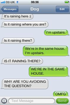 I am so in love with this blog right now. Too funny (the texts are between the dog & its owner--hilarious).
