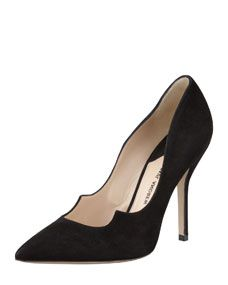Paul Andrew Zenadia Suede Peaked-Vamp Pointed-Toe Pump, Black