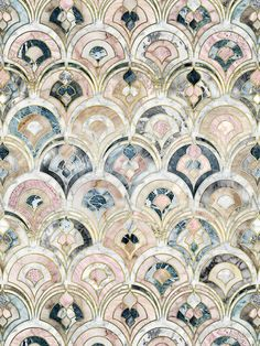 Art Deco Marble Tiles in Soft Pastels von micklyn