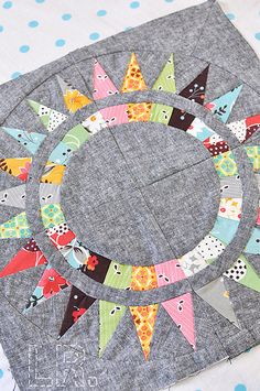 "sunny circle - here's that ""drab"" background with funky prints again! -- Love it!"