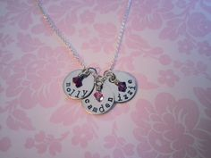 3 Stamped Discs With Birthstones Necklace, Mommy Necklace, Push Present, Mothers Necklace