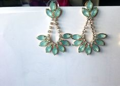 Jcrew Inspired Turquoise Chandelier Earrings