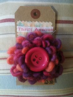 Beautiful Pink Wool Flower pin